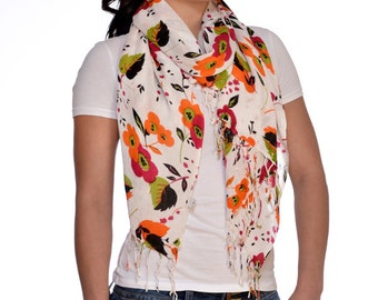 Hand Print Red, Orange, White & Black Floral Scarf