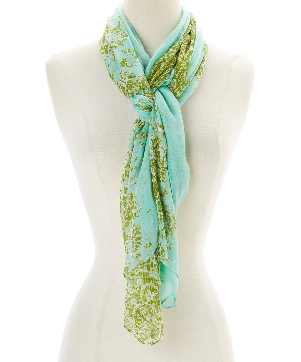 mint green damask oblong scarf accessory for