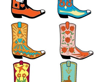 Western Boots Clipart Western Boots Clip Art Commercial and Personal Use