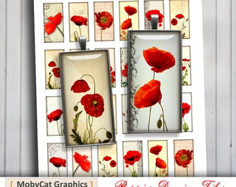 Poppies Domino Rectangular Images 1x2 inch, 0.75x1.5 inch Digital Collage Sheet - Instant Download