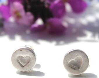 Tiny heart studs, silver heart studs, silver heart earrings,  tiny earrings, silver studs, tiny post earrings, handmade silver jewellery