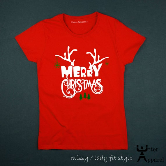 Merry Christmas Ugly Christmas tshirt crew neck short sleeve women red missy lady fit S-2XL antlers woman