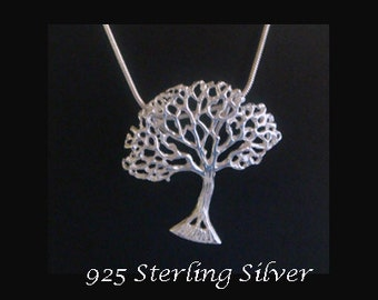 Tree of Life Necklace: Sterling Silver Tree of Life Pendant with Tree Bending in the Wind - Tree of Life Pendant 044