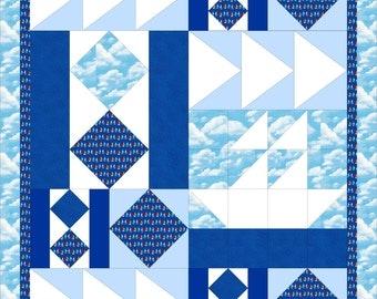 Modern, baby quilt PDF pattern - Boy Boat