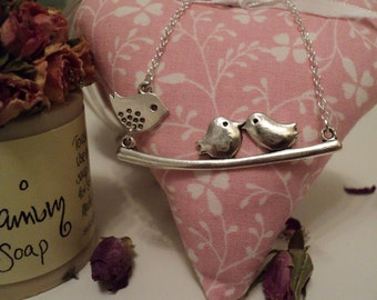 Three Birds on a Branch Necklace