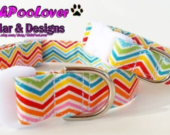 Spring and Summer Chevron Adjustable Dog or Cat Collar (Matching Leash Available)