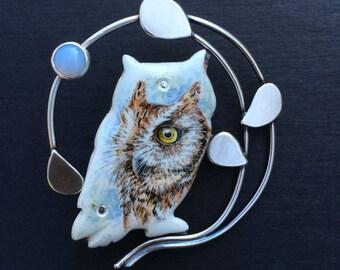 Screech Owl pin/pendant