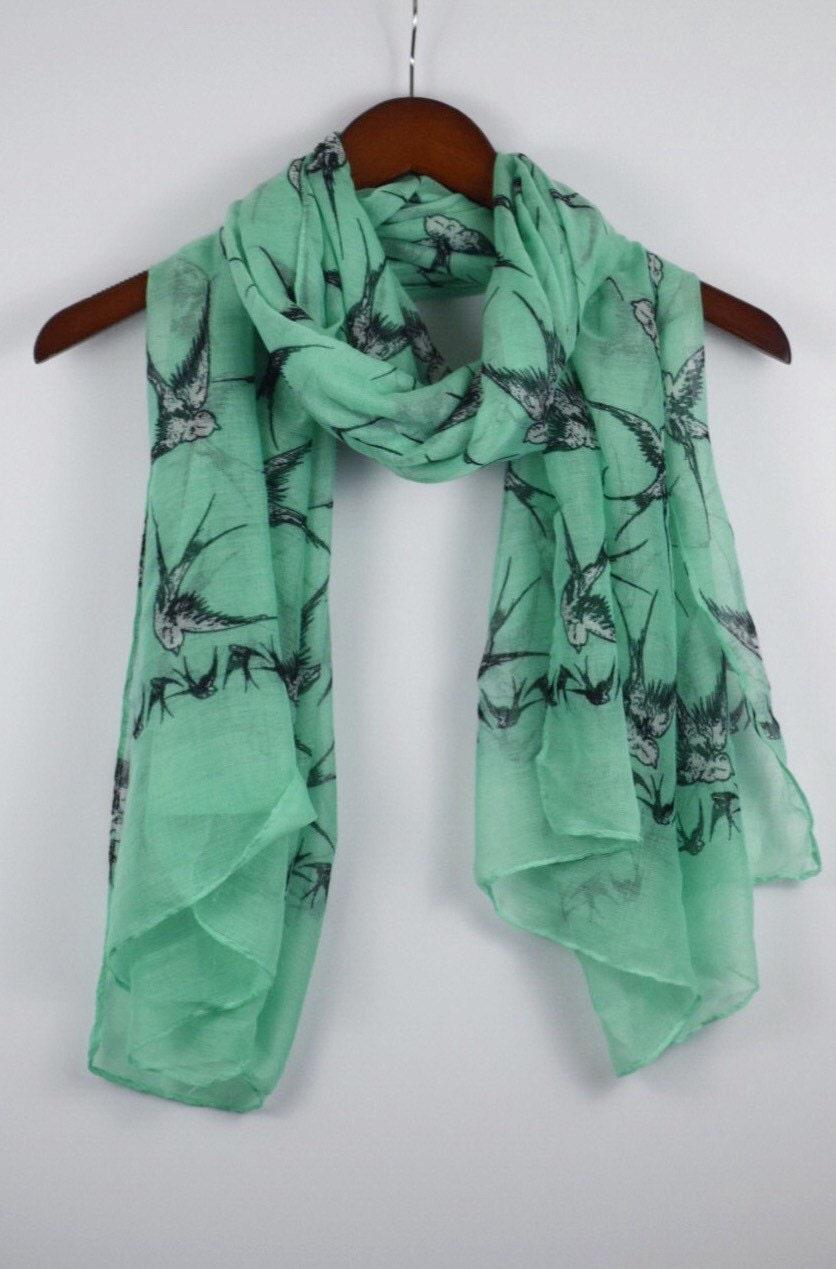 mint green scarf bird scarf pinup scarf rocker scarf