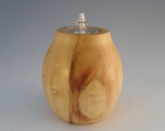 BOX ELDER  WOOD Oil Lamp - wooden oil lamp - wood oil lamp - oil lamp - wood candle - wood turned oil lamp