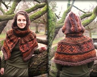 Autumn orange brown crochet forest fairy hoodie cape/ boho/ hippie/ pixie/ patchwork / crochet and knits fiber textile art for women