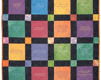 Handmade quilt with inspirational quotes