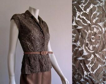 1940s Blouse / Illusion Lace Blouse / Brown Cotton / MEDIUM