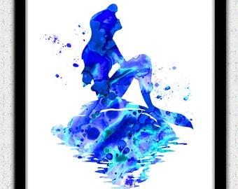 Blue Mermaid print, Mermaid watercolor print, Ariel print, Disney Ariel, Disney Little Mermaid, Mermaid art, Mermaid painting, nursery art