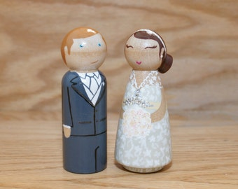Custom Bride and Groom Cake Topper Peg Dolls