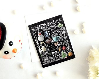 Holiday Card, Winter Card, Chalkboard Art, Chalk Art, Typography, Hand Lettered, Hand Drawn, Winter Word Collage, Winter Words