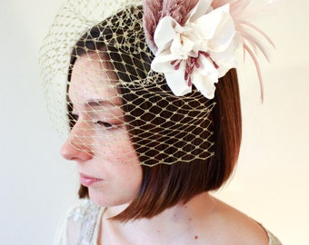 Birdcage Veil with Fabric Flowers - Pink & Gold - fabric flowers, wedding veil, pink, gold, feathers, fabric, bespoke