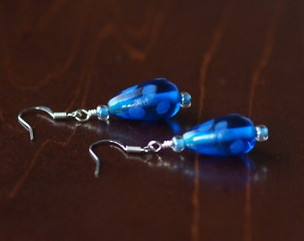 Blue Polkadot Earrings
