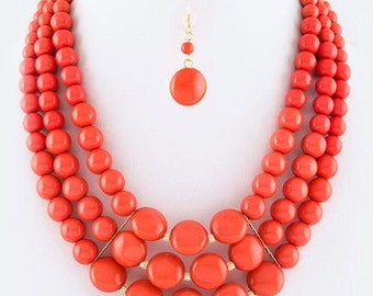 Multi strands Necklace, Coral peach necklace, three strands, bubbles beads, beaded necklace, handmade gift idea.