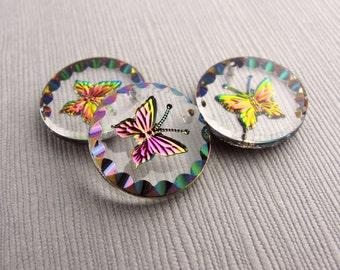 1pc Butterfly 18mm Transparent Intaglio Glass Round Pendant,  Iridescent Pink Butterfly Pendant For Jewelry Making - PB-50PEDO-52