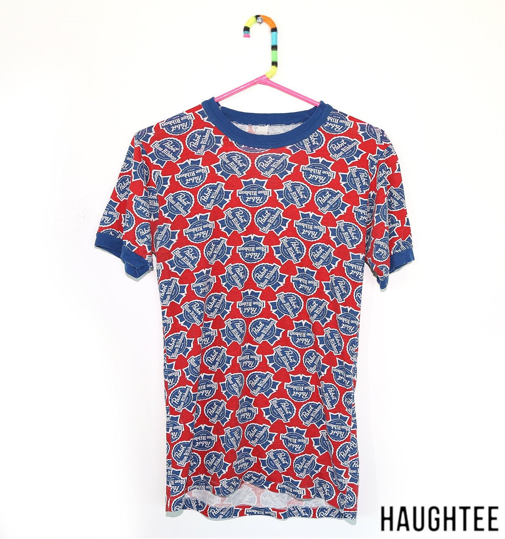 vintage pbr tshirt pabst blue ribbon shirt by haughtee