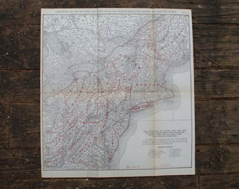 1924 - Large New England Highway Map - Antique Road & Rail Map from the United States