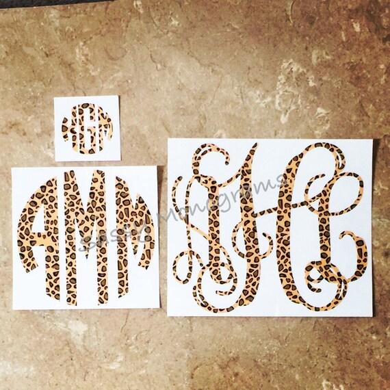 Cheetah Leopard Print Monogram Decal By Sassymonogramandmore
