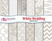 White wedding digital papers. Commercial & personal use. Instant download. Bridal paper, invite, cards, scrapbooking, floral, lace, romantic