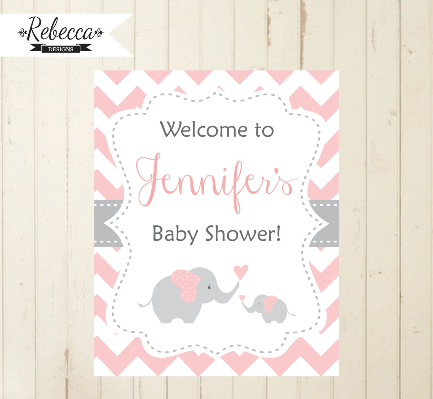 pink welcome sign baby shower elephant pink chevron welcome