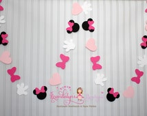 Pink Minnie Mouse Garland 12 ft., Minnie Mouse Birthday garland, minnie mouse decoration, nursery or playroom