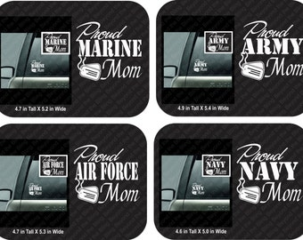 Proud Army mom car decal proud Air Force mom car decal proud marine mom car decal proud navy mom car decal vinyl car decal proud mom decals