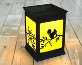 Electric Hand cut Stained Glass Candle Warmer Lamp, Table Lamp, Wax melter [ Tree squirrel ]