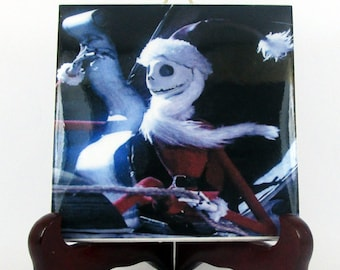 Jack Skellington as Santa Claus - collectible ceramic tile - handmade - Christmas gift - The Nightmare before Christmas serie mod. 117