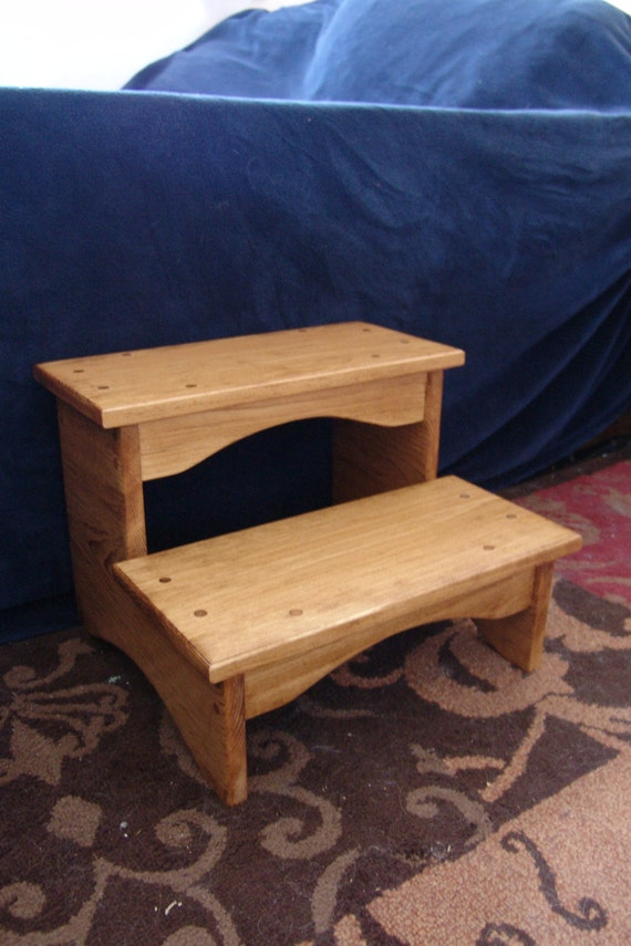 handcrafted heavy duty step stool wooden adult bedside. Black Bedroom Furniture Sets. Home Design Ideas