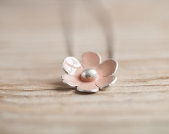 Romantic silver pink flower necklace, dainty and romantic handmade jewelry