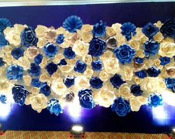 One set of blue paper flower backdrop