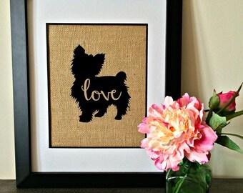Pet Silhouette burlap print. Yorkie. Yorkshire Terrier. Custom pet burlap print. Yorkie Love.