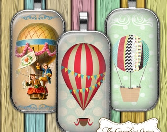 Hot Air Balloon Vintage Digital Collage Sheet 1 x 2 inch Rectangles Domino printable for pendant jewerly INSTANT DOWNLOAD
