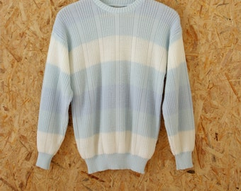 80s  fisherman striped knitted sweater baby blue white