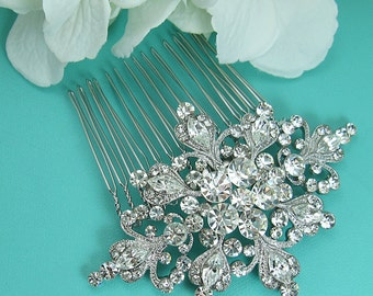 Crystal Wedding Comb, Crystal Rhinestone Snowflake Comb, Wedding Comb, Bridal Hair Comb, winter wedding comb, Rhinestone Comb 211131521