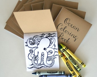 "FREE US SHIPPING Set of 10- Mini Ocean Coloring Books- great for party favors, stocking stuffers or happies 4.25""x3.67"" with 6 images-"