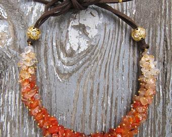 Carnelian necklace Carnelian choker Orange necklace Orange choker Choker necklace Ginger necklace Aries Birthstone jewelry Healing necklace