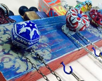 Jewelry holder /wall hanging makeup organizer /Necklace hanger/ reclaimed wood decor boho distressed mandalas 4 cobalt blue hooks 5 knobs