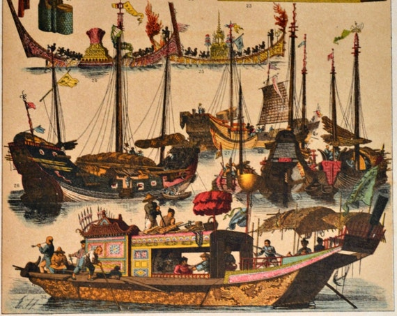 China. Boats and objects. Early modern period. Antique print,1894. History engraving.  121 years old print.  11,50 x 8,40 inches.