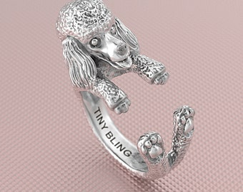 Poodle Puppy Ring in Oxidized Sterling Silver. Great for all the Dog, Puppy, and Pet Lovers