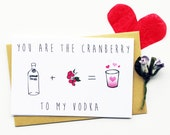 Funny Valentine Card...Friend Valentine...Drunken Love...Galentine...Anniversary Card...Husband Card...You Are The Cranberry To My Vodka