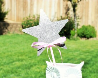 Pink and Silver Princess star wands with bows - set of 8