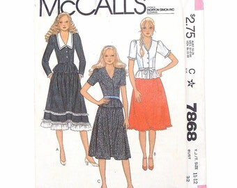 McCall's Junior/Teen Top, Skirt and Tie Belt Sewing Pattern #7868 - Uncut - size 11-12