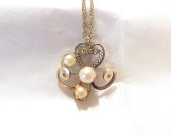 Vintage Lady Hadley Pearl / Filigree 1/20 12K G.F Necklace