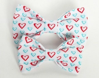 Valentines Hearts, Turqoise & Red Dog Bow Tie, Cat Bow Tie, pet bow tie, collar bow tie, wedding bow tie