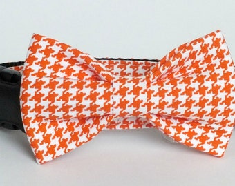 Orange Houndstooth Dog Collar Bow Tie set